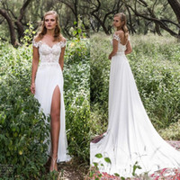 Wholesale country wedding dresses cheap lace off shoulder backless split side Bridal dress chiffon sweep train Wedding gowns