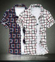 silk dress shirt - cheap mens casual shirts Personality slim fit dress shirt silk cotton short sleeve shirts cool plus size plaid shirts XL