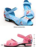 Wholesale Brand new Frozen Children girl cartoon Sandals kids Elsa Anna Princess Leather dance Shoes pink blue red purple festive gift