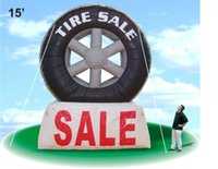 advertising balloons for sale - free standing black and white advertising huge inflatable tire for sale