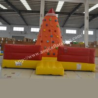 Wholesale AOQI park equipment top quality climbing wall inflatable factory price commercial used inflatable bounce rock climbing wall in