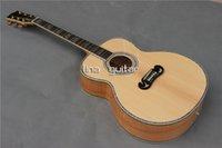Wholesale Handmade inch Deluxe J200 acoustic guitar abalone inlay and purfling flame maple neck
