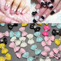 acrylic nail bows - New D Design Acrylic Bowtie Bow Rhinestones Nail Art Tips Decorations For Women Beauty Tools Manicure Hotting