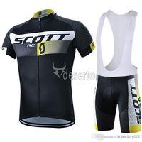 bib set designs - Scott New Design Cycling Jersey Set Black Short Sleeve With Padded Bib None Bib Shorts Road Cycling Clothing Ultra Breathable Bike Suit