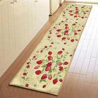 Wholesale 1pc x45cm Vintage Blending Fabric Non Slip Kitchen Rug Door Carpet Mat