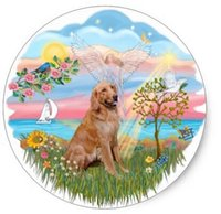Wholesale 2016 Price Label Gun Etiquetadora De Precios Price Tag Gun Labeler inch Angel Star Golden Retriever Classic Round Sticker