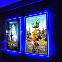 acrylic poster display - 3 Units X A1 Crystal LED Edge lit Poster Frame Back lit Movie Poster Picture Display Advertising Acrylic Light Boxes