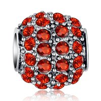 Wholesale Brand S925 Silver Charm Beads cm with Full Crystal Fit Original Pandora DIY Bracelet White Pink Red Black Color Pendants For Women Jewelry