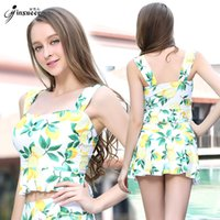 Wholesale Golden Snow childhood yet fission girl Swimming suit woman chest gather together full skirt fresh Student conservative hot spring Swimwear E