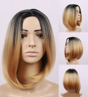beyonce black hair - New ombre synthetic bob wig artificial hair beyonce wig black ombre blond None lace wigs Chemical fiber hair women