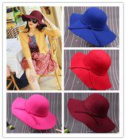 Wholesale Fascinator Hats Floppy Hats For Women Sun Beach Bowknot Hats Cap Lady Wool Felt Bowler Fedora Hat Floppy Street Hats Womens Wide Brim Hats