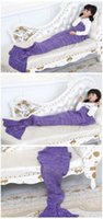 Wholesale CHEAPEST ONE PIECE Mermaid Tail Blanket SleeperS adult baby Color Crochet Sea Maid Fish Scales Sofa Bed Mat Children Christmas gift