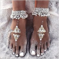 anklet bells free shipping - National wind retro exaggeration anklet small bell fringed beach anklet silver anklet for women