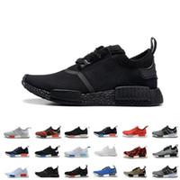 Wholesale Cheap White Casual Shoes - Wholesale Cheap 2017 NMD R1 Monochrome Mesh Triple White Black Men Women Running Shoes Sneakers Fashion NMD Runner Primeknit Casual Shoes