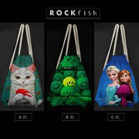 Wholesale drawstring bags backpacks schoolbags children Frozen cartoon Canvas Pounch Staff bags d Street fashion shopping bags