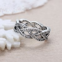 autumn plates - 2016 new autumn shiny silver jewelry ring fashion Pandora style eternity band silver cz ring for party