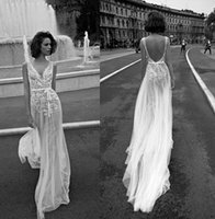 Wholesale 2016 Backless Beach Wedding Dresses Sexy Lace V Neck Tulle Bridal Gowns Illusion Applique Floor Length Bohemia Wedding Dress