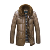 Wholesale Fall Winter Thick Leather Garment Casual Flocking Leather Jacket Men s Clothing Winter Leather Jacket Parka Jaqueta Masculina