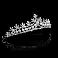 Wholesale Stunning Crystals Wedding Crowns Hair Decoration With Pearls Bridal Tiaras Fashion Headpiece Bling Bling Sparkly Amazing Wedding Pieces DS