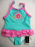 Wholesale 0 months baby girl swimsuit petty flower heart swimsuit for girls with ruffles girls bikini summer style girl swimming suit