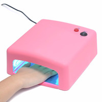 Wholesale White Pink Color UV Lamp W Nail Art Dryer Gel Curing Light Manicure Drying Fan V EU Plug
