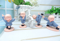 art shaolin kung fu - 1set Four monks of shaolin kung fu kid car act the role of resin furnishing articles HY1168