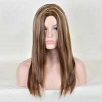ash blonde highlights - Women Long Straight Remy Blend Hair Blonde Dark Gray Ash Highlights Daily Wig