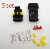automotive electrical connectors - 5 sets Kit Pin Way Waterproof Electrical Wire automotive Connector Plug for car