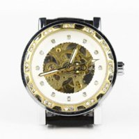 beach auto - Unisex Automatic Mechanical Watch Skeleton Crystal Leather Strap Casual Sport Cheap strap back High Quality sport beach