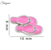 alloy slippers - Slipper Charms Pendant for Bracelet DIY Floating Locket Charms for Locket Necklaces Silver Plated Jewelry Making