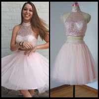 baby sizes chart - 2017 New Cheap Two Pieces Baby Pink Tulle Homecoming Dresses High Neck Illusion Crystal Beaded Hollow Back Tulle Short Mini Party Graduation