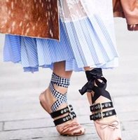ballerina style flats - Lace up Ballet Shoes Brand Design Round Toe Women Flats Bowtie Punk Style Fashion Ballerinas Espadrilles Soft Leather XWA0312