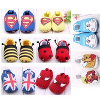 Wholesale 8 Styles Hot Baby Walking Shoes Soft Soled Shoes Cartoon Pattern First Walkers Cotton walking shoes