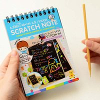 Wholesale 5pcs DIY Cute Kawaii Coil Graffiti Notebook With Wood Pen Black Page Magic Drawing Painting Notepad Kids Stationery Gift Prize