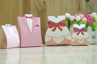 Wholesale 100PCS Pink Bride Groom Wedding Bridal Favor Gift Boxes Paper Packing Bags Chocolate Boxes Party Decoration