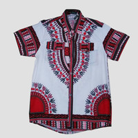 Wholesale Hot sale African Traditional Short Sleeve Men Dress Shirt Top African dashiki print White LBL729
