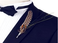 application availability - Man woman gift party availability Feather brooch Pheasant feathers Peacock feather party application As a gift for lovers