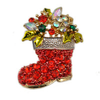 asian fashion shoes - Christmas Holiday Gift Sholder Decoration Fashion Red Shoes Boots Suits Brooch Diamond Crystal Brooch for Women up Scarf Buckle Accessories