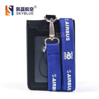 Wholesale Airbus Logo Lanyard with ID Card Holder PU Leather Badge Case for Years Souvenir Package Fortieth Anniversary Blue Purple