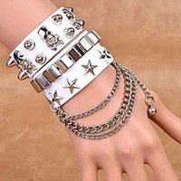 nail charms - Europe And The United States Multi layer Leather Bracelets Punk Diamond encrusted Personality Double breasted Nail Bracelet For Man Or Girl