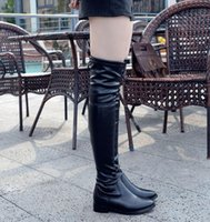 add points - 2017 Keep warm slim fit over the knee thigh boots women black PU leather suede shoes add plush winter Size to