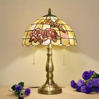 Wholesale 12 Inch Warm LED Tiffany Table Lamp Handmade Art Decorative Shell Rose Dragonfly Lamp Living Room Bedroom Bedside Light