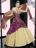 beads designs patterns - Sweetheart Ball Gown Column Patterns Champagne And Purple Taffeta Two Pieces Quinceanera Dresses Sash Hot Design