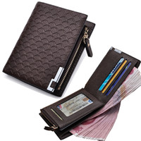 Wholesale Men Wallet leather with Coin Pocket Zipper Plaid Purse Coin Purse Money Bag Credit Card Holders Mens Zip Wallet Porteemonnaie