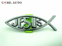 accessories for suv - Exterior Accessories Car Stickers New Arrival Silver Mini Jesus Christian Fish Car Body Rear Badge Sticker for SUV Van Truck sv