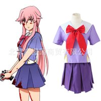 achat en gros de yuno gasai costumes-Uniforme gros-JP Anime The Future Diary Cosplay Dress yuno Gasai costume cosplay Mirai Nikki 2e Cosplay School Set Costume