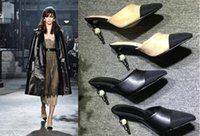Wholesale fashionville u618 genuine leather cap toe snake pearl heels slide mules shoes sandals luxury beige white black designer c brand