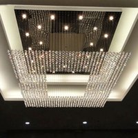 Wholesale new square modern string big crystal chandeliers hotel lobby chandelier lighting