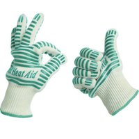 Wholesale Heat Resistant Light Weight Flexible BBQ Gloves Cotton Lining For Super Comfort Mint Green Stripes Gloves Protective Mitts