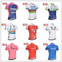 Wholesale Hottest LaGaZZettadello Sport And Orica Cycling Jerseys White Pink Blue Short Sleeve Cycling Tops High Elastic Breathable Road Bike Wear